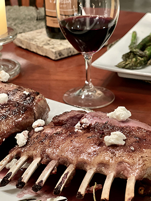Rack of Lamb with Blueberry Syrah Reduction Sauce